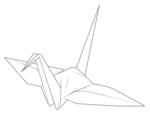 折り鶴イラスト素材(線画)