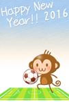サッカーとチビザルちゃん年賀状