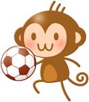 サッカーボールとチビザルちゃんイラスト素材