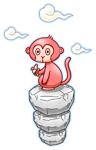 岩の上でバナナ猿イラスト素材